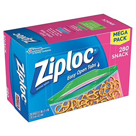 Amazon.com: Ziploc Snack Bags, 280 Count (Jumbo Mega Pack - 580 Count): Health & Personal Care