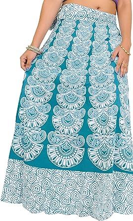 Exotic India - Falda larga con estampado de bloques en colores ...