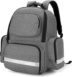 Trunab First Responder Bag Trauma Backpack Empty, Medical Emergency Kits Storage Jump Bag Pack for EMT, EMS, Police, Firefighters, Safety Officers - Patented Design Grey