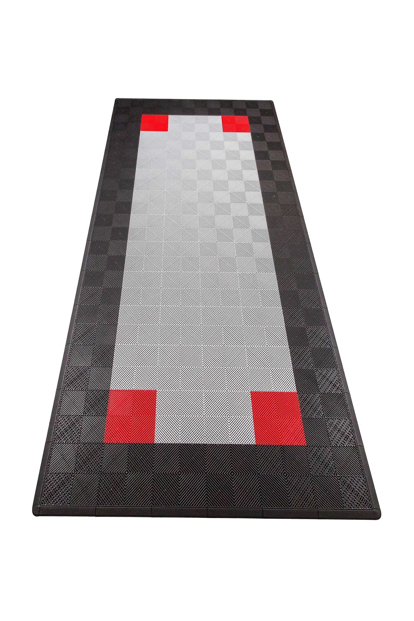 Swisstrax (ASNGCP-PSBLKRD) Ribtrax Single Car Pad with Edges, Black/Pearl Silver/Red