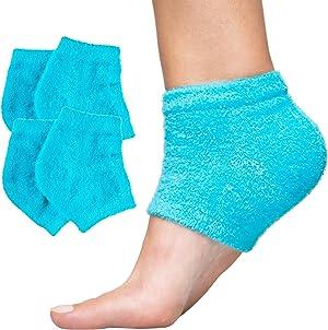 ZenToes Moisturizing Heel Socks 2 Pairs Gel Lined Toeless Spa Socks to Heal and Treat Dry, Cracked Heels While You Sleep (Regular, Fuzzy Blue)
