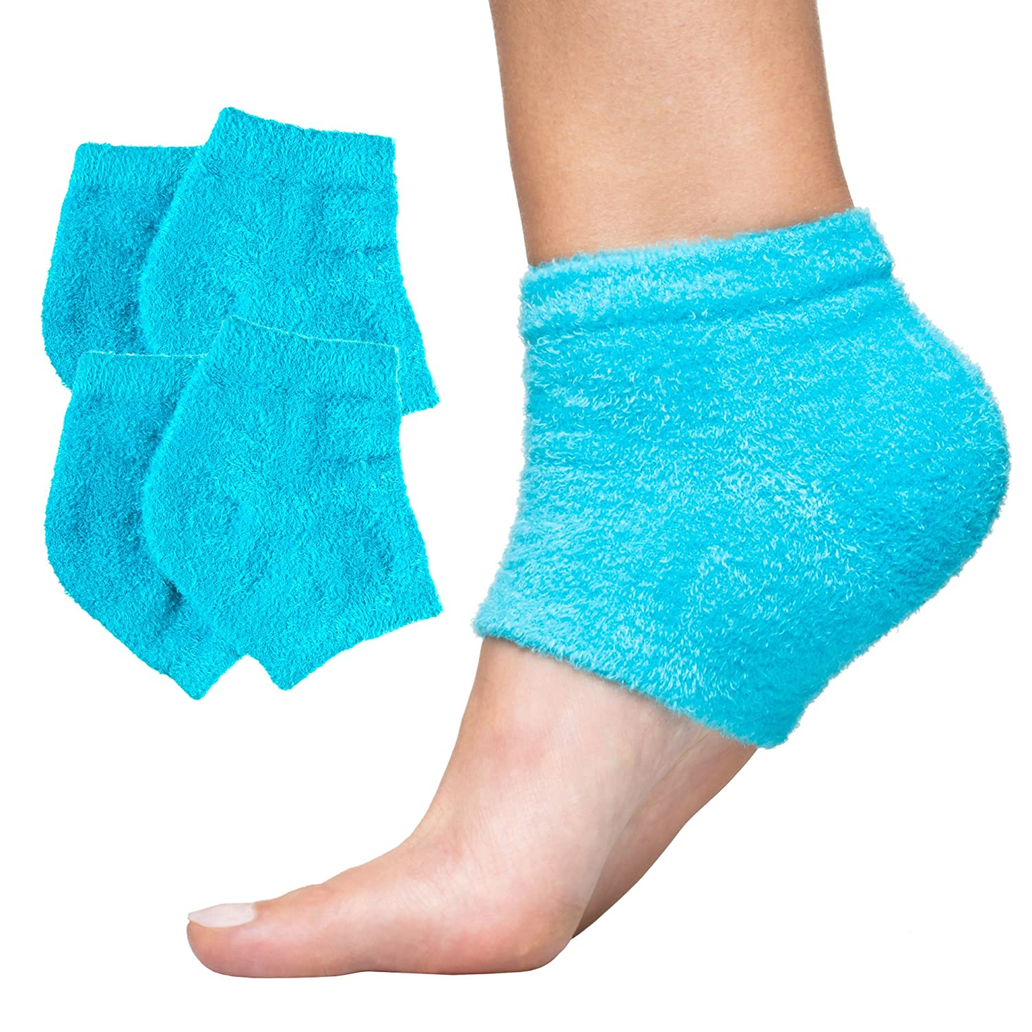 ZenToes Moisturizing Heel Socks with Gel to Heal Dry Cracked Heels (Fuzzy, Blue and Pink)