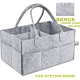 Baby Diaper Caddy Organizer | BONUS Card Holder | Nursery Storage Bin for Diapers, Wipes & Toys | Portable Car Storage Basket | Changing Table Organizer | Great Baby Shower Gift Basket by Pandiee