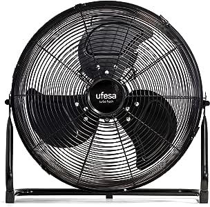 Ufesa ff0450 - ventilador de suelo, 45cm diámetro, potente flujo de aire gracias a la combinación de potencia y al especial diseño de sus 3 hélices, 3 velocidades, inclinación regulable: Amazon.es: Hogar