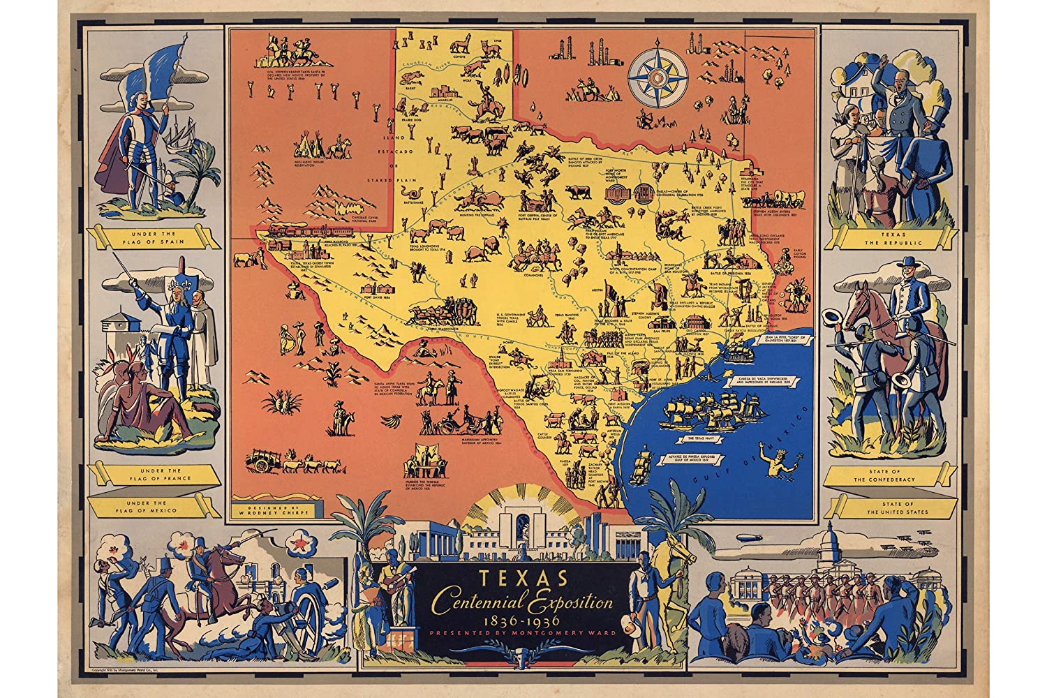 Map Of Texas 1836.Amazon Com Antique Map Of Texas Centennial Exposition 1830 1936 To