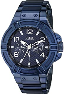 GUESS Mens U0218G4 Rigor Iconic Blue Plated Multi-Function Watch