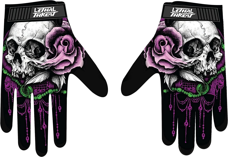 La Floral Skull Womens Black, Medium 1 Pack Lethal Threat GL15006M Womens Gloves