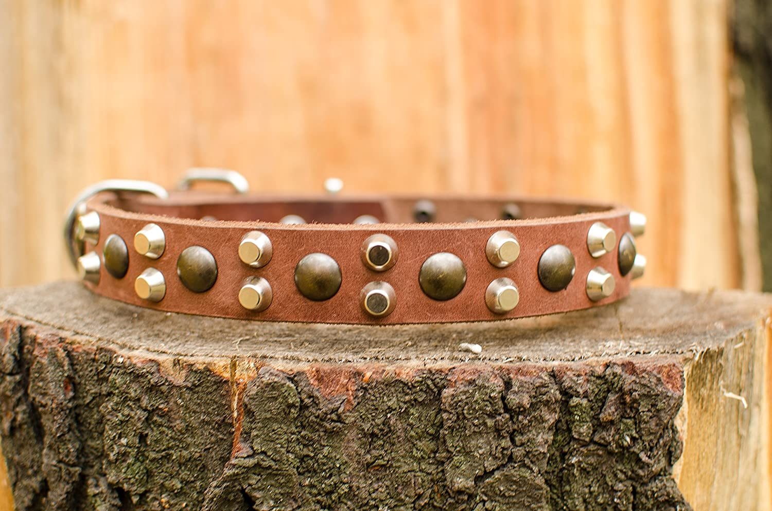 33 inch Fashion Dog Tan Leather Dog Collar with Pyramids and Studs 1 1 5 inch (30 mm) wide
