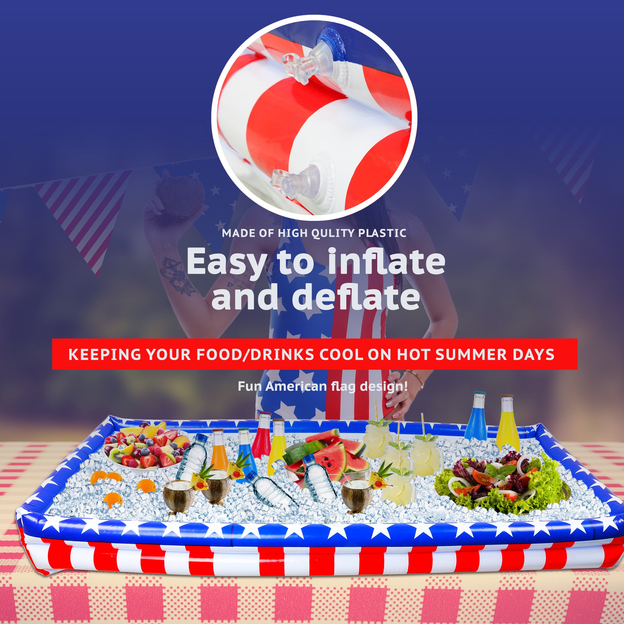 Outdoor Inflatable Buffet Cooler Server - Patriotic Red White and Blue Blow Up Cooling Tub for Serving Buffet Style Picnic - Pack of 2 by Big Mo's Toys (Image #2)