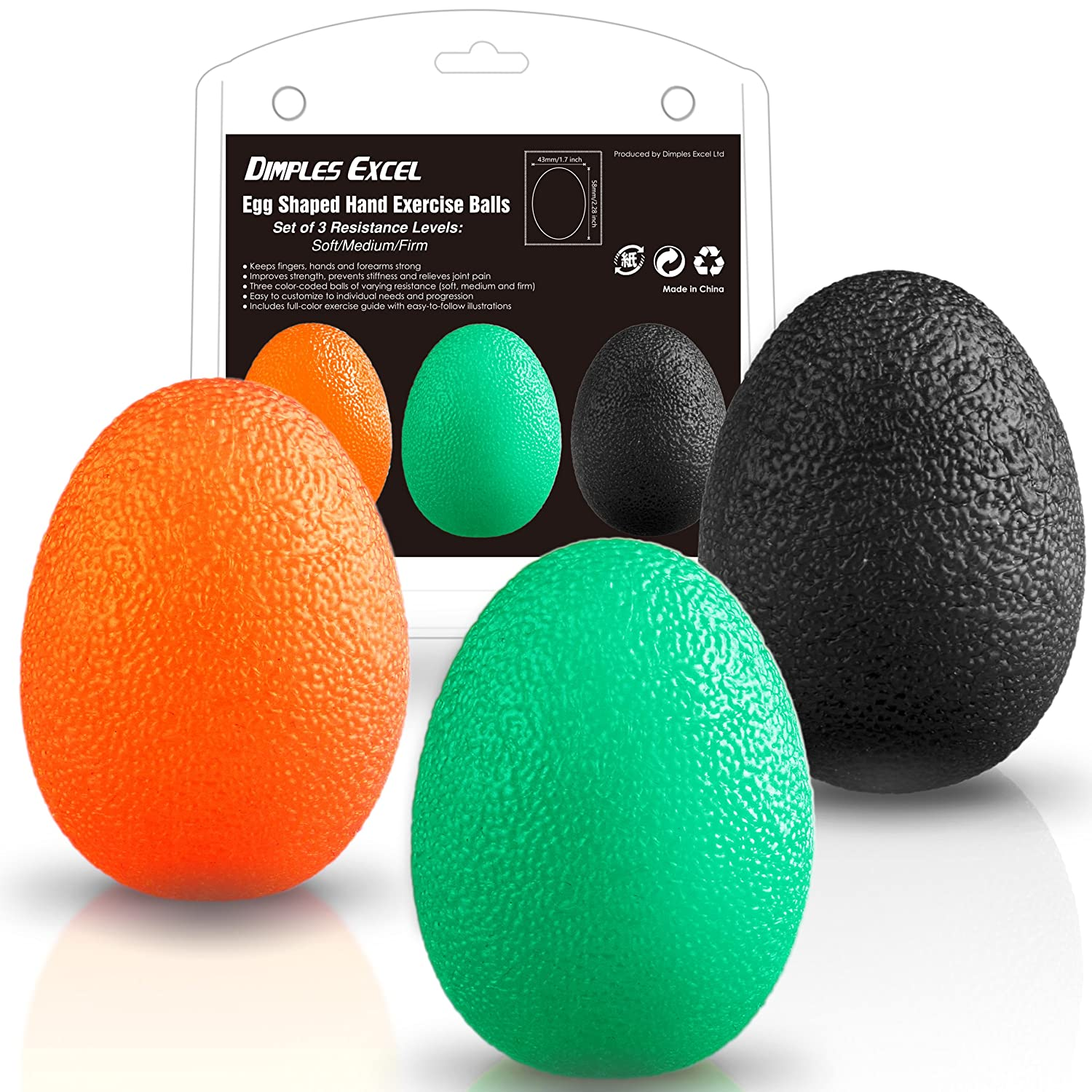 Dimples Excel Squeeze Stress Balls for Hand, Finger and Grip Strengthening  - Set of 3 Resistance
