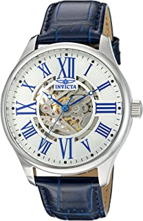 Invicta Mens Vintage Automatic Stainless Steel and Blue Leather Casual Watch (Model: