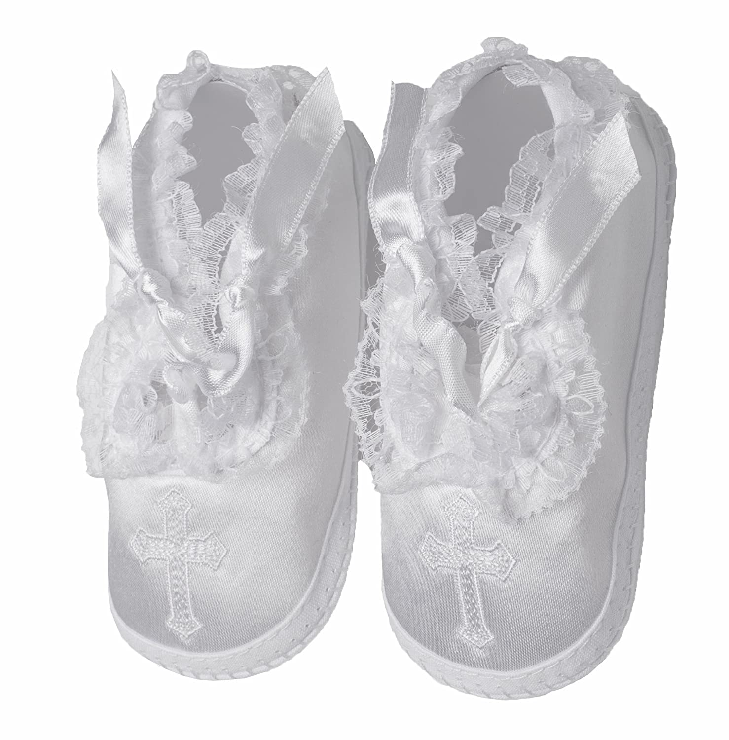 Lauren Madison Baby girl Christening Baptism Satin Shoes Cross Haddad Brothers Clothing 1322