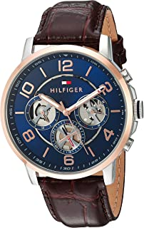 5cb2c9d323 Tommy Hilfiger Men s Quartz Stainless Steel and Leather Casual Watch Color  Brown Strap Model 1791290