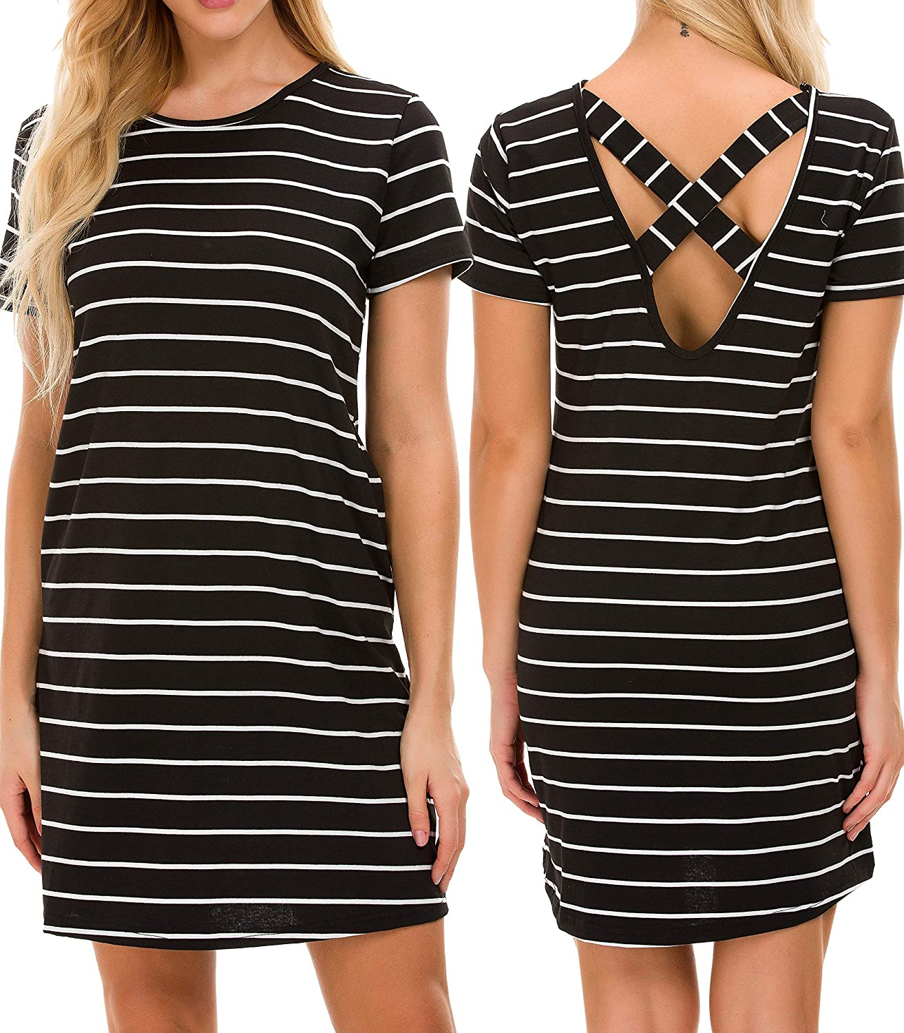 f7fad3a693d5 T-shirt dress with striped simple classic design, soft and stretchy  material make it comfortable to wear. Knee length dress with short sleeve,line  striped ...