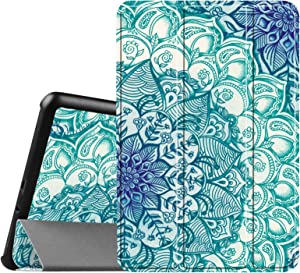 Fintie Slim Shell Case for Samsung Galaxy Tab A 8.0 (Previous Model 2015) - Super Slim Lightweight Standing Cover with Auto Sleep/Wake for Tab A 8.0 SM-T350/T355/P350/P355 2015, Emerald Illusions