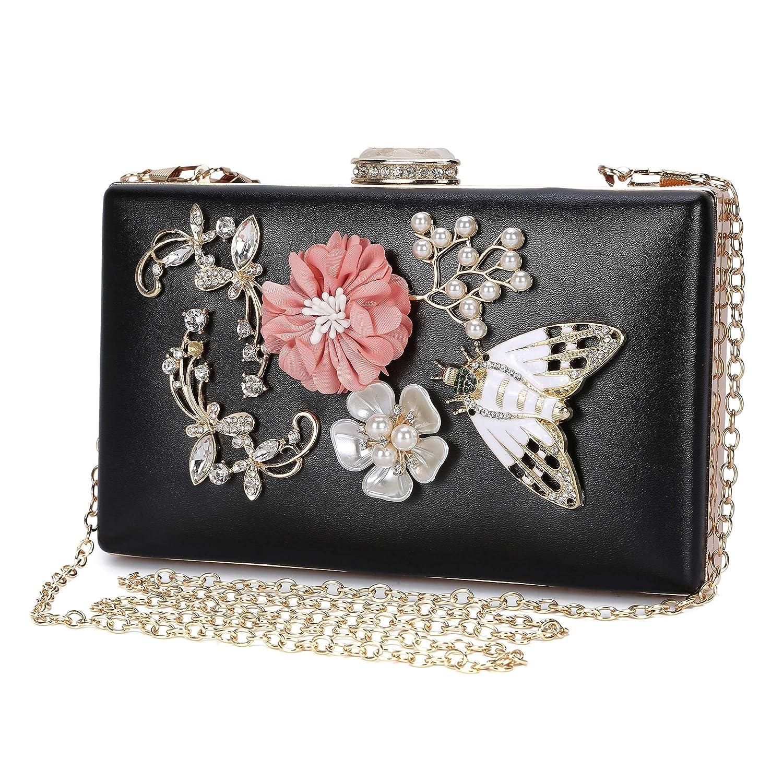 Abendtasche Damen Blumen Clutch Bag Kette Shiny Elegante Handtasche Umhängetasche für Hochzeit Party - Rosa GENOLD