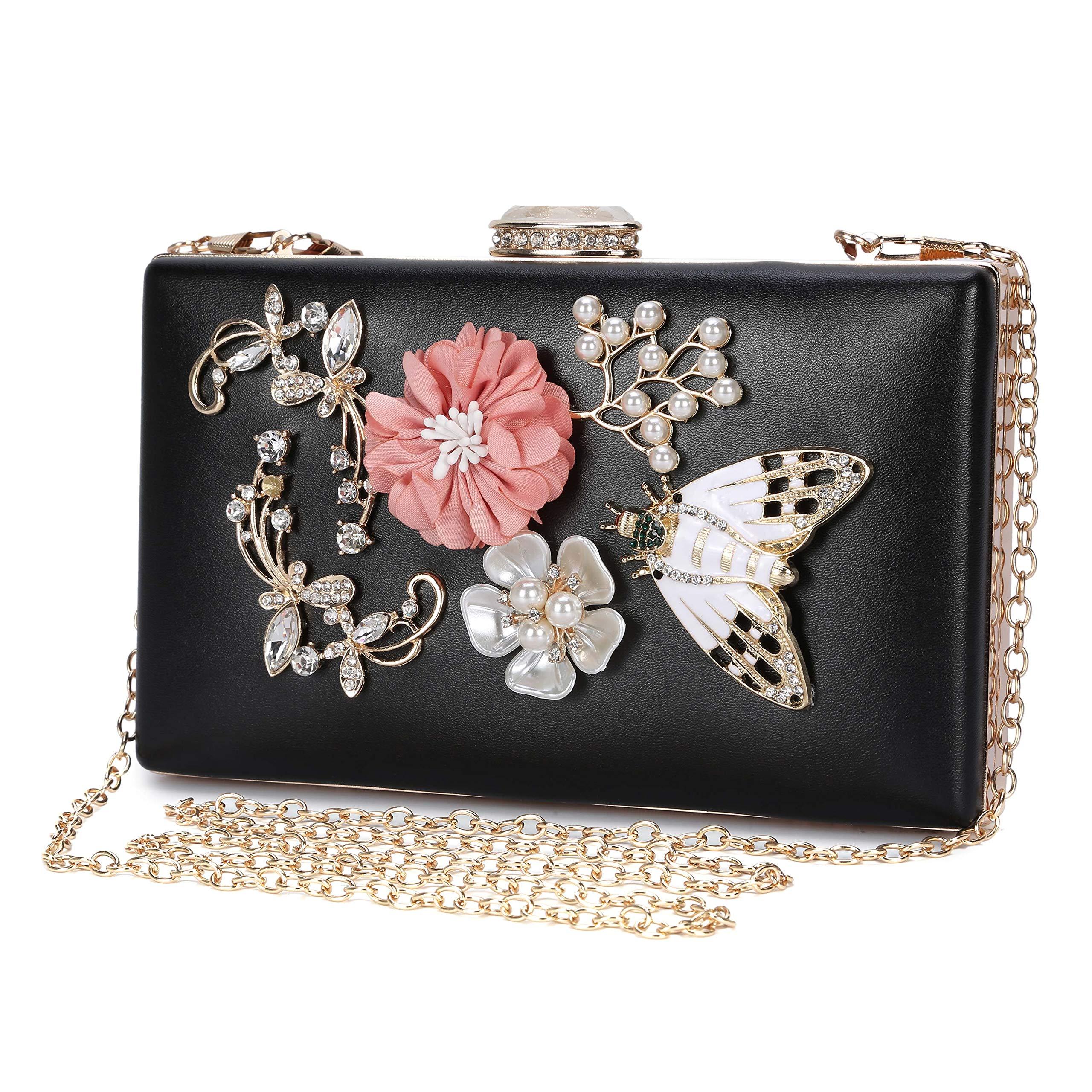 Bolso de Noche Embragues Bolsa de Mano Mariposa y la Flor Colorida Exclusivo para Mujer Hard
