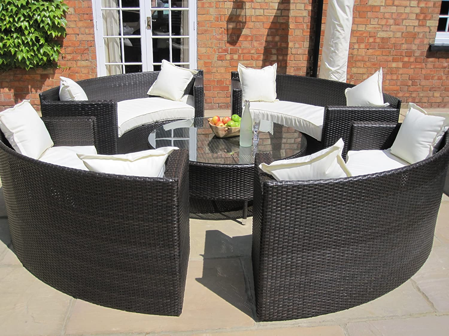 lauren luxury grey rattan garden furniture circular sofa and - Garden Furniture Table And Chairs
