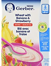 GERBER CEREAL Wheat with Banana & Strawberry, Baby Food, Cereal, 6+ months, 227 g, 6 Pack