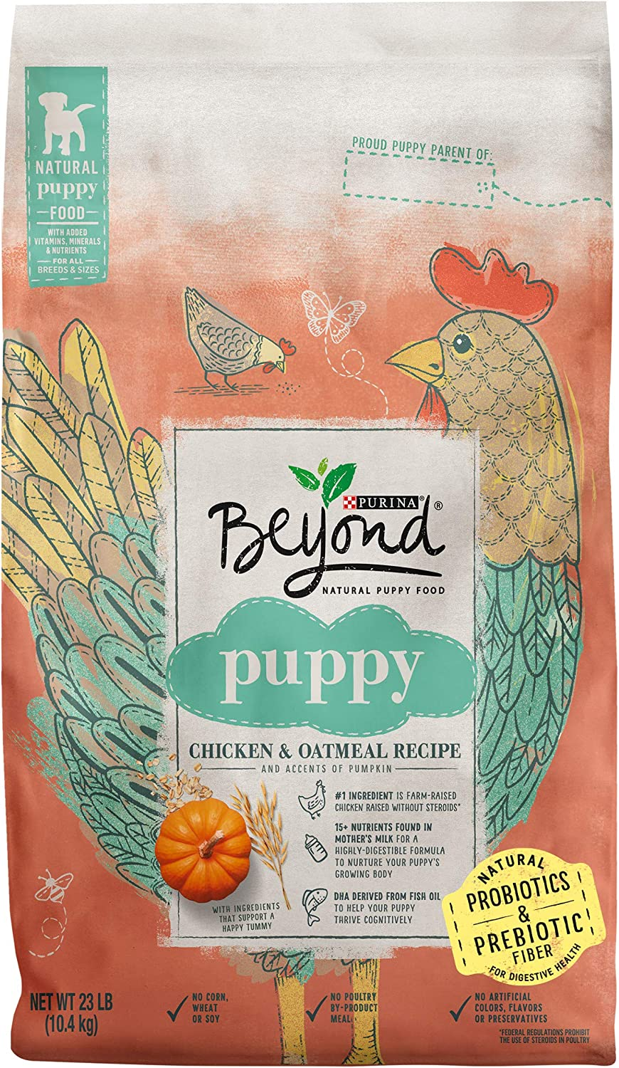 Purina Beyond Natural, High Protein Dry Puppy Food, Chicken & Oatmeal Recipe - 23 lb. Bag