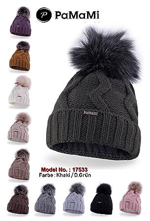 9f1ed33e PaMaMi Women Knitted Winter Hat Beanie Hat Fleece Lined 17533, khaki ...