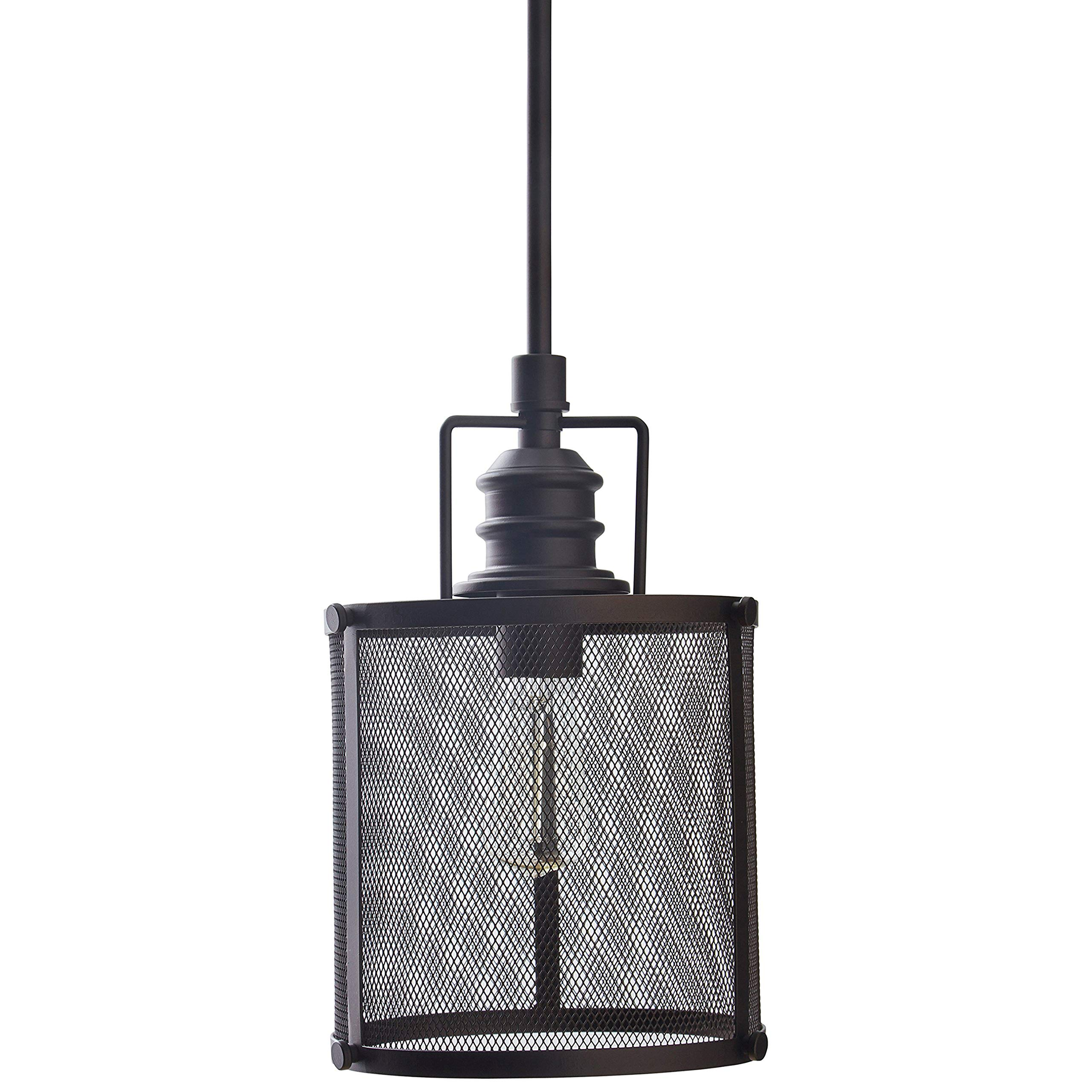 Stone & Beam Hobbs Mesh Cage Pendant Ceiling Chandelier Fixture With Light Bulb - 7.75 Inch Shade, 20.5 - 60.5 Inch Cord, Oil-Rubbed Bronze