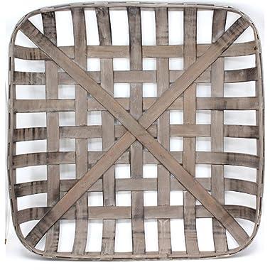 Silvercloud Trading Co. Tobacco Basket, Farmhouse Decor, Med 21  Square