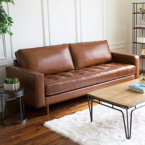 Mid Century Top Grain Leather Sofa Brown Solid Bohemian Eclectic Mid-Century Modern Foam Wood Removable Cushions