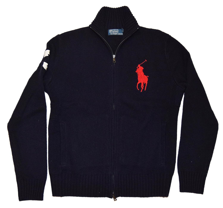 Ralph Lauren Polo Mens Big Pony Lambswool Half Zip Cardigan Sweater Navy  Medium at Amazon Men\u0027s Clothing store: