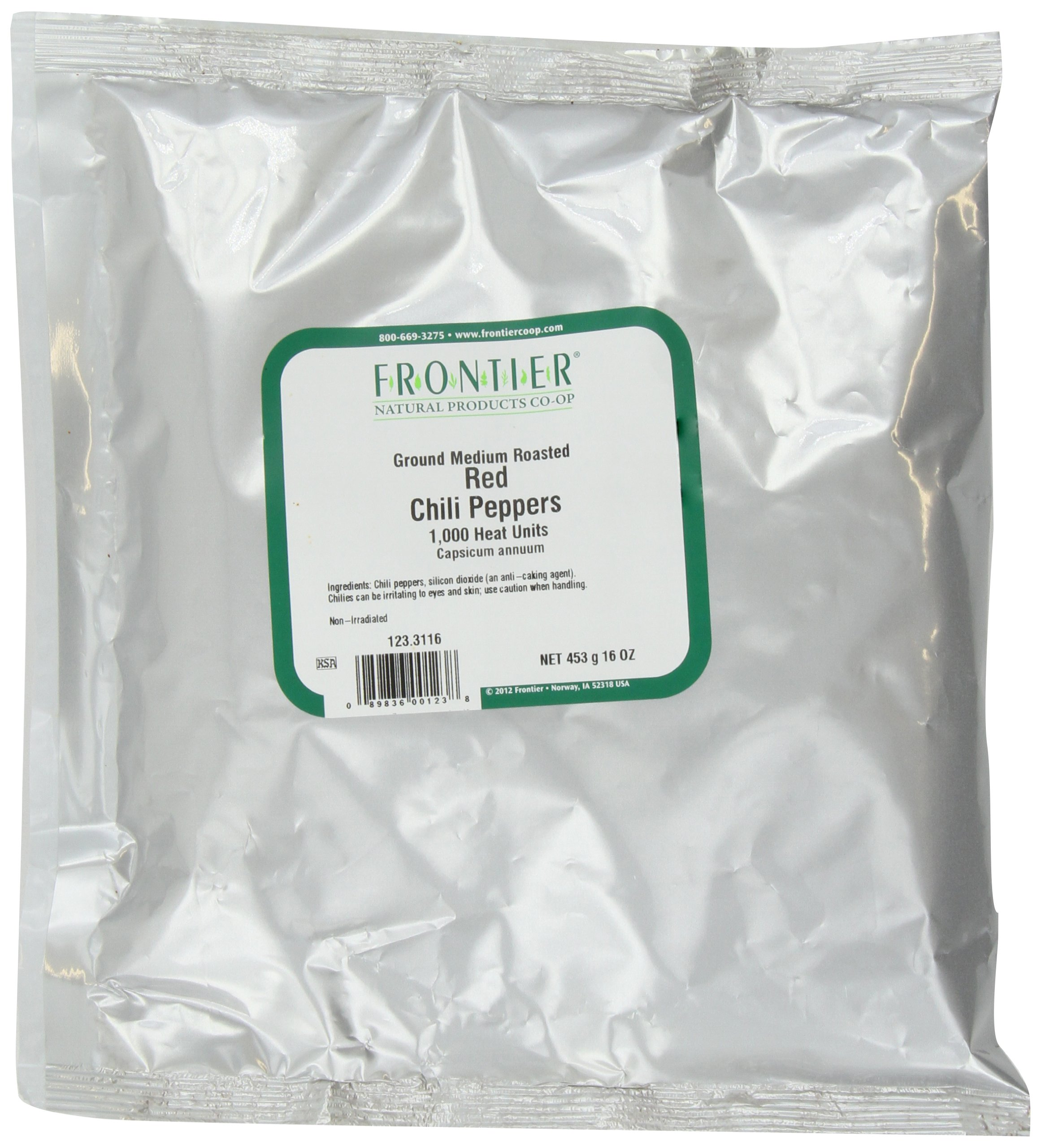 Frontier Chili Peppers Ground, Medium Roasted Powder, 16 Ounce Bags (Pack of 2)