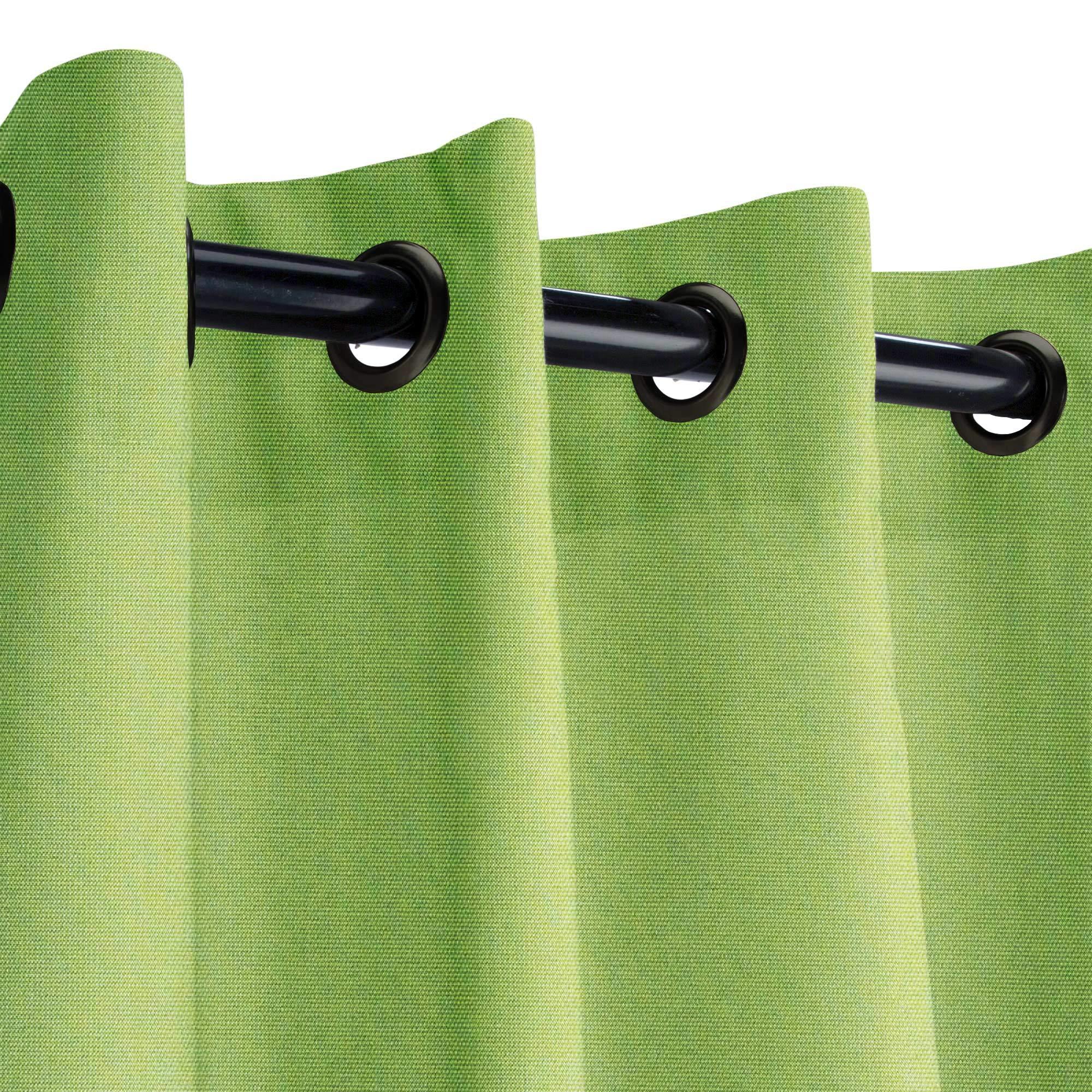 Sunbrella Canvas Ginkgo Outdoor Curtain with Dark Gunmetal Grommets 50 in. Wide x 108 in. Long