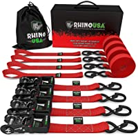 """$59 » RHINO USA Ratchet Straps Tie Down Kit, 5,208 Break Strength - Includes (4) Heavy Duty 1.6"""" x…"""