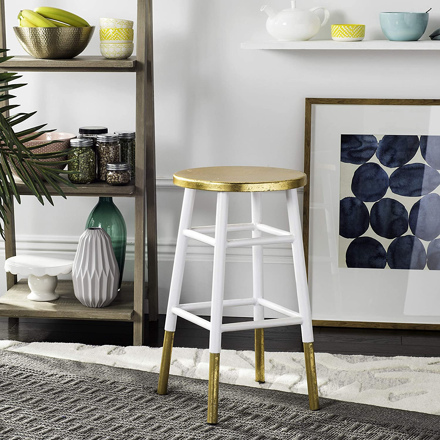 Safavieh Home Collection Emery White and Dipped Gold Leaf 24-inch Counter Stool