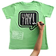 Chalk of the Town Chalkboard T-Shirt Kit for Kids - Short Sleeve Lime Speech Bubble with 1 Chalk Marker and Stencil