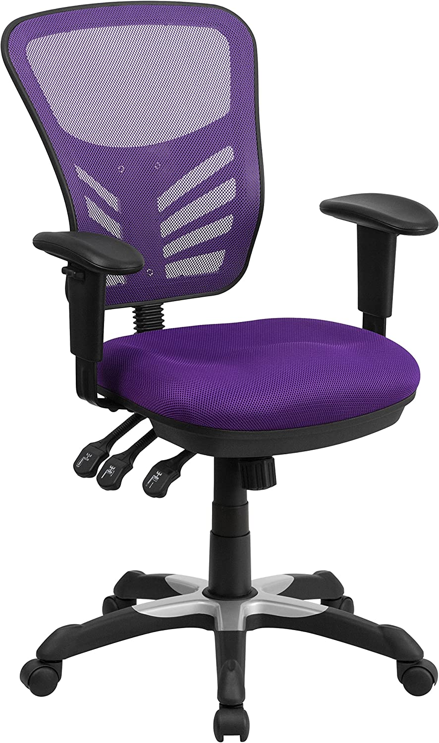 Flash Furniture Mid-Back Purple Mesh Multifunction Executive Swivel Chair with Adjustable Arms - HL-0001-PUR-GG
