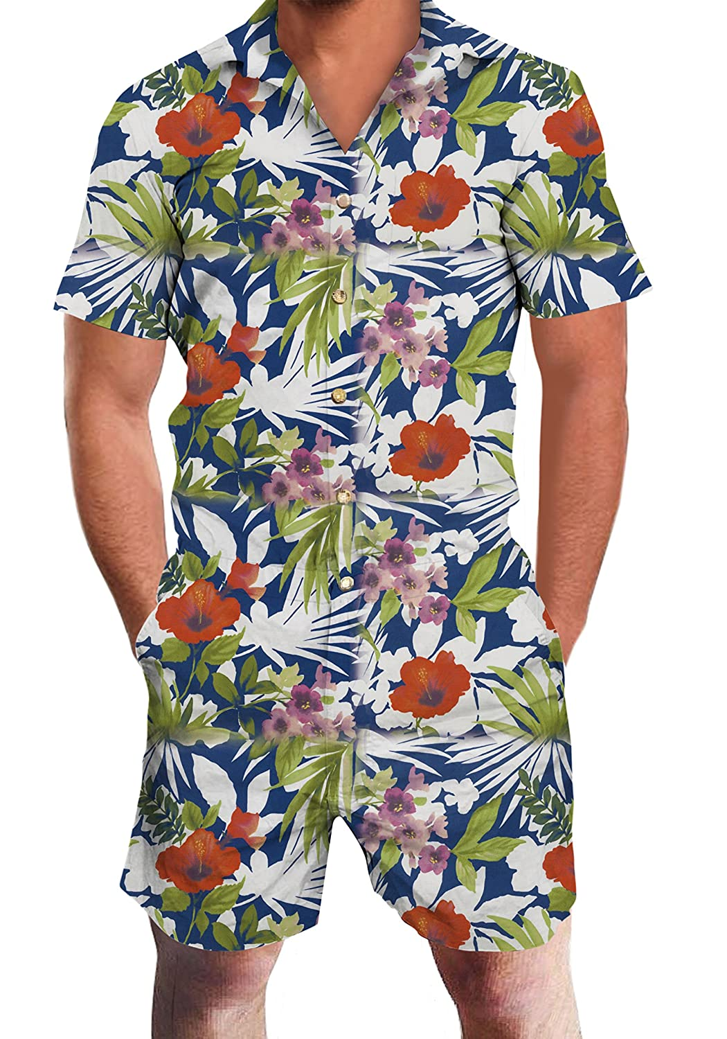 Loveternal Men's 3D Printed One Piece Jumpsuit Button Short Sleeve Pants Rompers Overalls