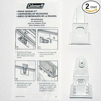 Coleman Cooler Hinge Repair Kit #5278A1241 - For Models 6277 & 6278 -  Replacement Parts