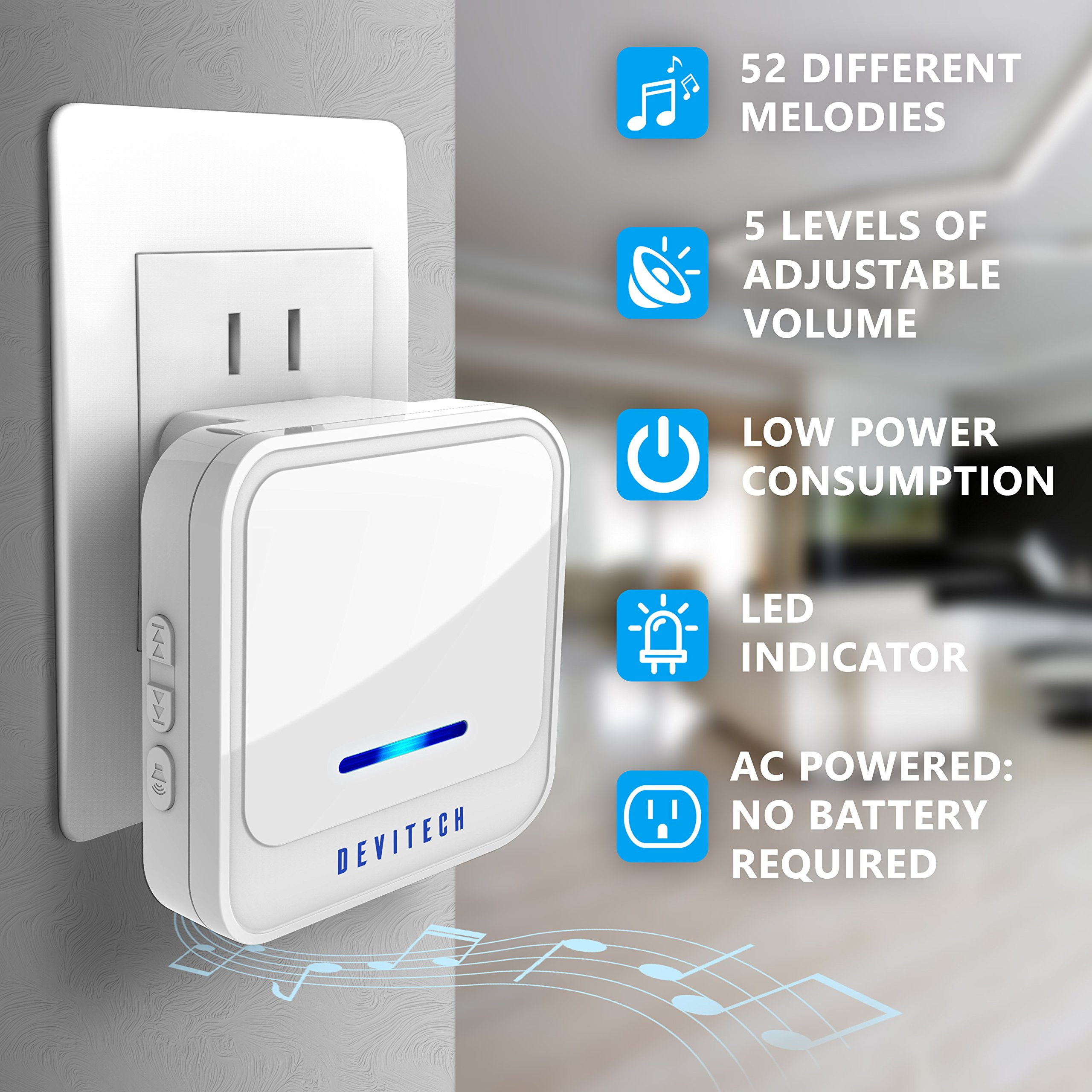 Wireless Doorbell - [NEW 2018] Kit -2 Electronic Receiver Chimes +Waterproof Transmitter Button-1000ft/300m Operating Range -52+ Different Ringtones -Adjustable Volume -Easy Installation by MAVES (Image #2)