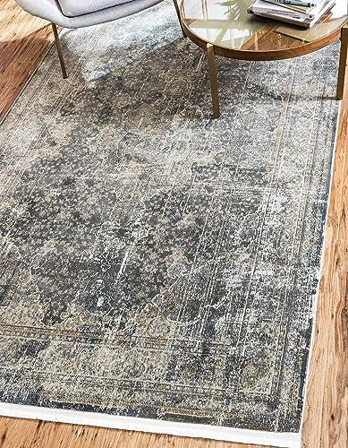 Unique Loom Baracoa Collection Bright Tones Vintage Traditional Dark Gray Area Rug 5' 5 x 8' 0