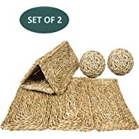 Set 2 Sea Grass Pet Mats and 2 Balls for Bunny Rabbit Hamsters Guinea Pigs Chinchilla Pocket Small Animals | Bedding Play Edible Chew Toys for Teeth Wire Cage Floor Safe Rug Pet Accessories