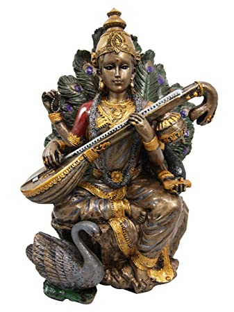 Ebros Hindu Goddess Saraswati Playing Veena with Swan Figurine Sitting On Peacock Lotus Throne Hinduism Deity Decor Altar Sculpture Eastern Enlightenment