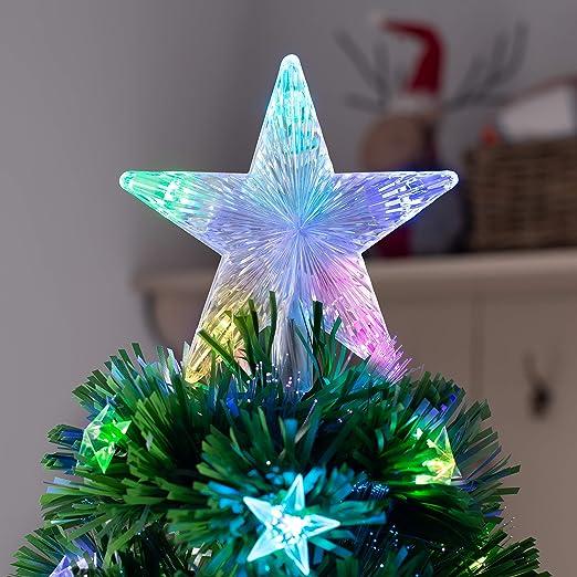Verde 5 ft//1.5m WeRChristmas /Árbol de Navidad de Fibra /óptica con Estrellas LED
