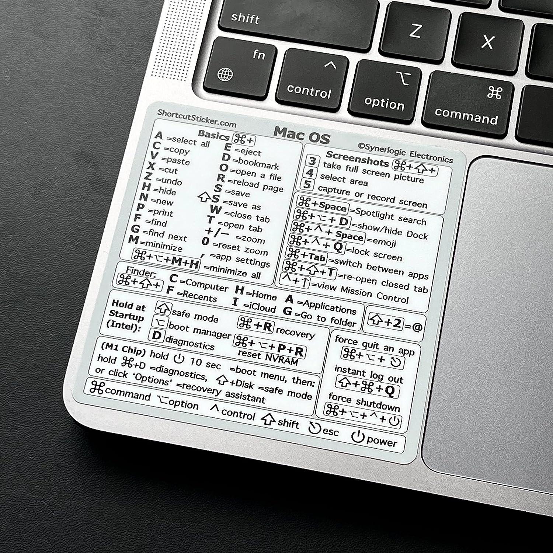 SYNERLOGIC (M1+Intel) Mac OS (Big Sur/Catalina/Mojave) Reference Keyboard Shortcut Vinyl Sticker, No-Residue Adhesive, White, 3.25