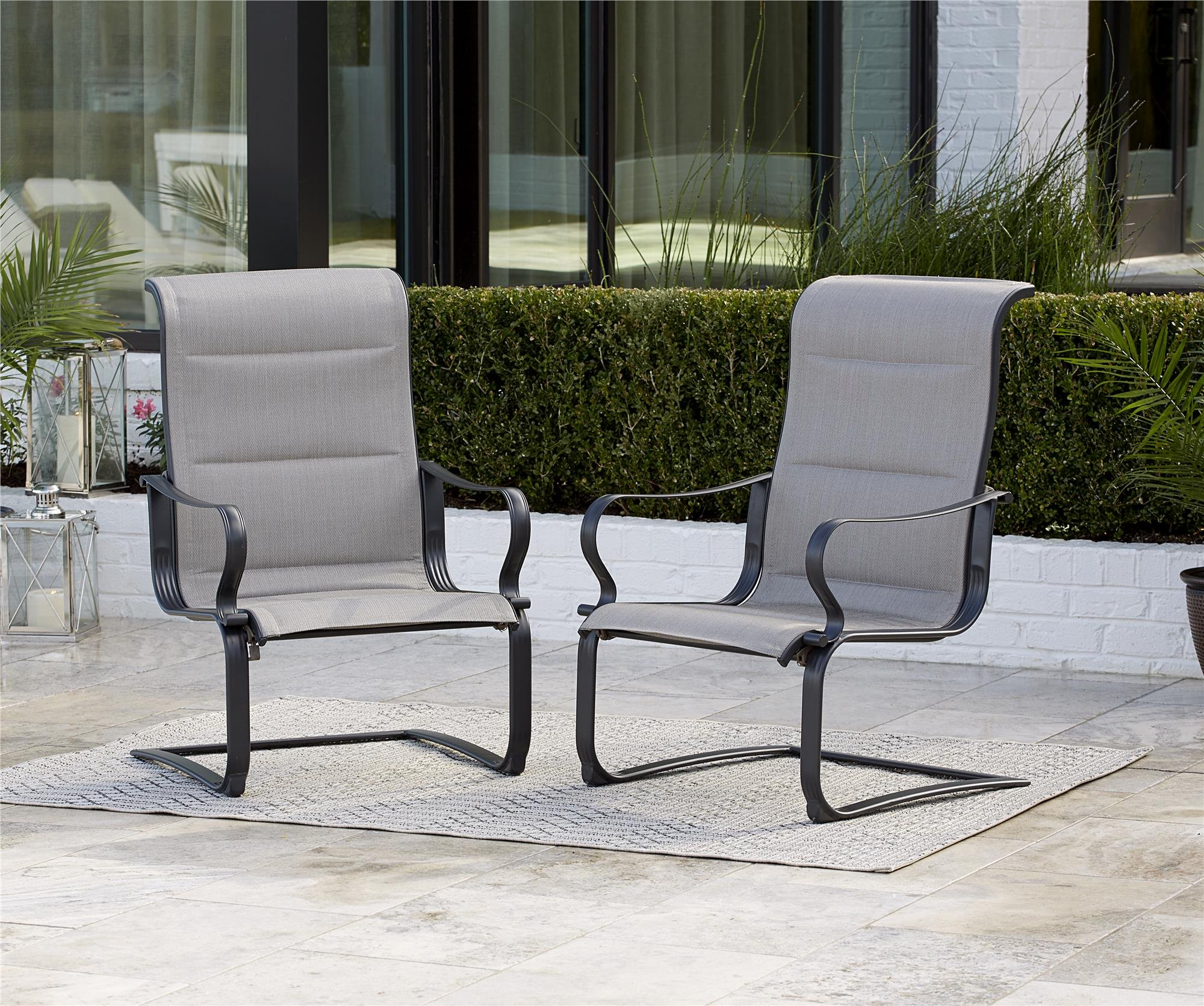 "Cosco Outdoor Patio Chairs, SmartConnect, 2 Pack, Gray Beige - Cosco's SmartConnect outdoor furniture collection features easy, tool-free assembly, from carton to comfort in minutes! Stylish outdoor furniture set has a durable, weather resistant outdoor powder coated steel frame, chairs and loveseat have easy to clean all weather slings Dimensions are: Outdoor lounge chair 29.92"" L x 26.57"" D x 40.94"" H per chair, Loveseat 49.41"" L x 29.92"" D x 40.94"" H, Coffee table 39.96"" L x 19.69"" D x 15.75"" H - patio-furniture, patio-chairs, patio - 913XfUUNWQL -"