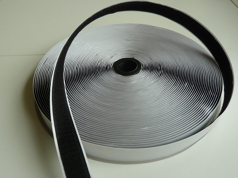 Omnipower Haken - Velcro autoadhesivo (1 rollo, 20 mm x 25 m), color negro