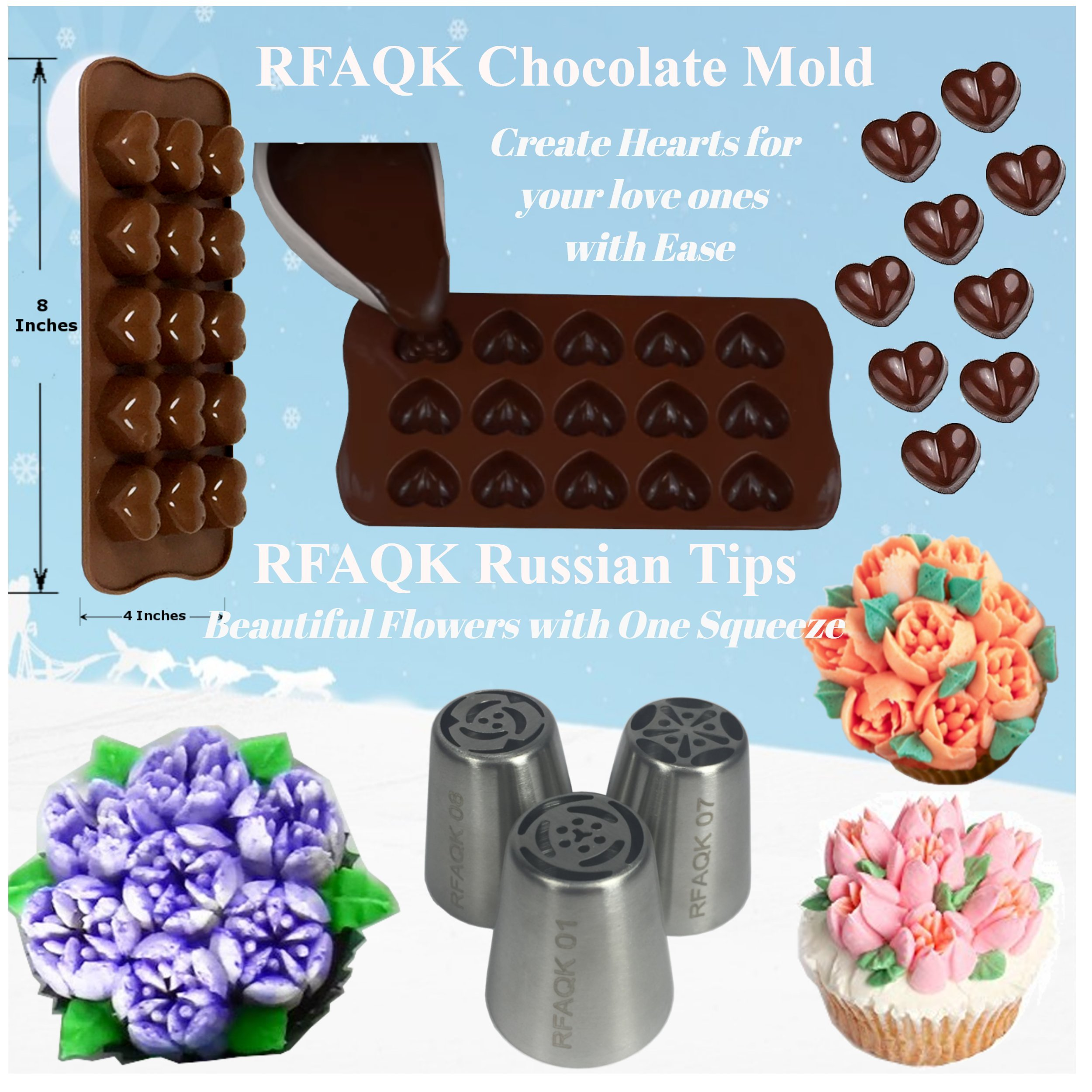 73 pcs Cake Decorating Supplies Kit for Beginners-1 Turntable stand-24 Numbered Easy to use icing tips with pattern chart and E.Book-1 Cake Leveler-Straight and Angled Spatula-3 Russian Piping nozzles by RFAQK (Image #4)
