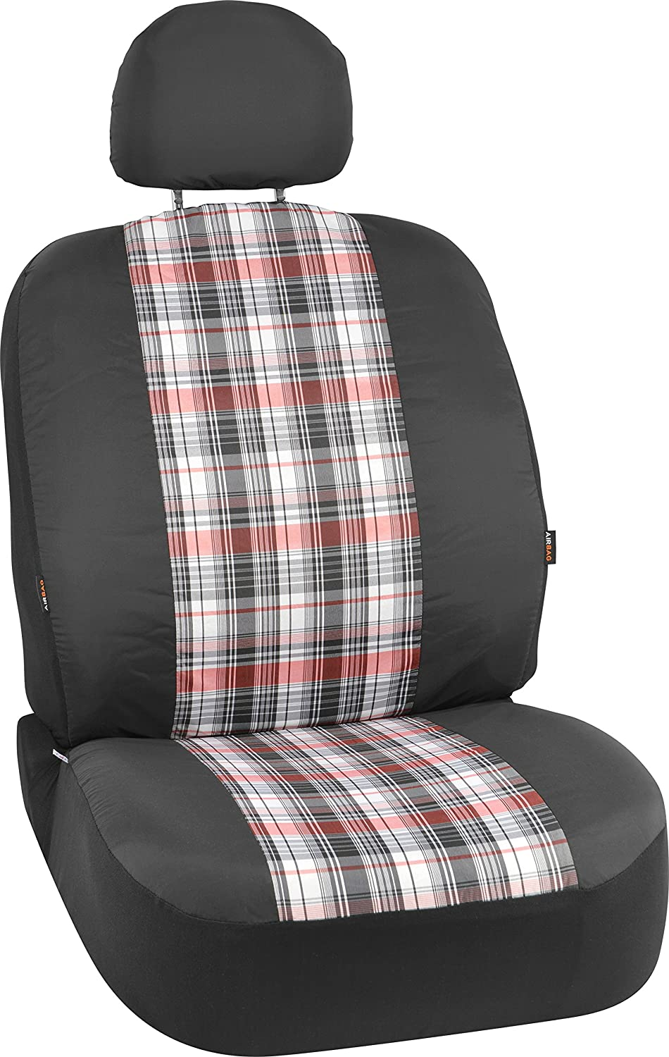 Bell Automotive 22-1-56863-9 Black Plaid Low-Back Bucket Seat Cover