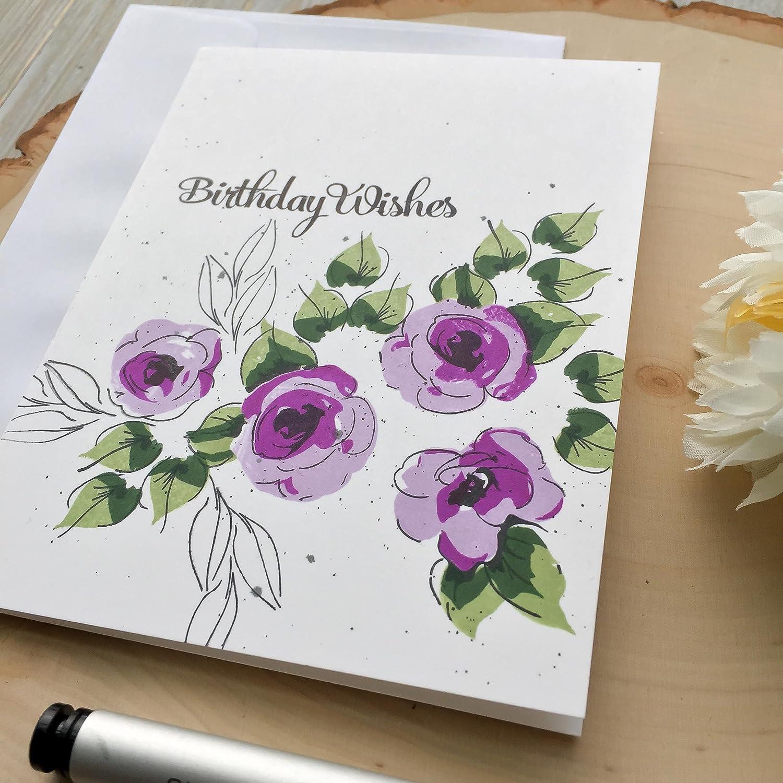 Handmade Greeting Card Card for Mom Flower Birthday Card Happy Birthday Grandma Roses Mom Purple Birthday Cards Flowers
