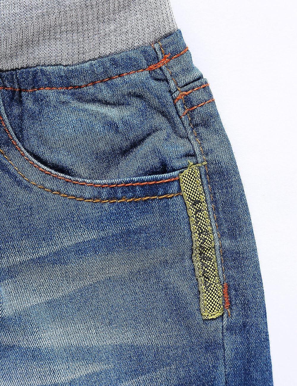 LITTLE-GUEST Little Boys Toddler Waistband Jeans Elastic Waist Straight Fit Drawstring Denim Pants B103