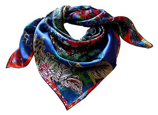46408f207a1d Foulard carré 100% soie roulotté 90 90 motif fleuri bleu  Amazon.fr ...